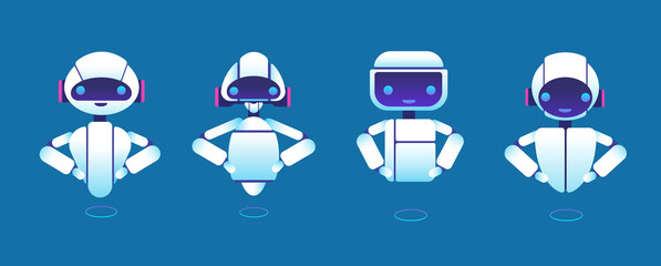 Cute chatbots. Robot assistant, chatter bot, helper chatbot vector cartoon characters. Illustration of robot and chatterbot, chatbot assistant