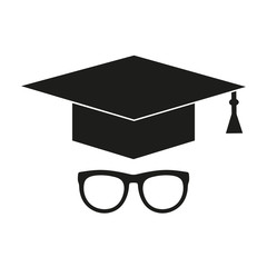 Graduation Cap. Flat Education Icon. Academic Hat with glasses