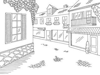 Old street road graphic black white city landscape sketch illustration vector