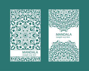 Flyer laser cutting mandala.Vector paper card with lace pattern of green, turquoise color. Wedding invitations, cards and business card templates. Decorative laser cutting cards for design