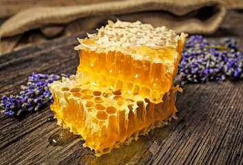 honeycomb on a wooden table close up
