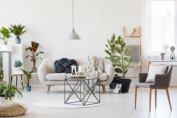Industrial coffee table in the middle of scandinavian living room interior with white sofa, urban jungle and grey chair
