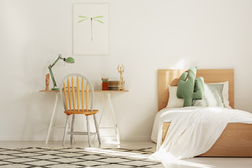 White and wood scandinavian kid's room with bed and workspace