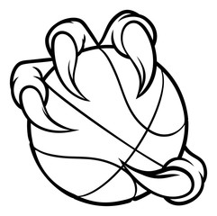 Eagle, bird or monster claw or talons holding a basketball ball. Sports graphic.