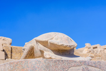 Statue of the scarab beetle in Karnak temple. Luxor, Egypt