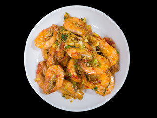 deep fried stir shrimp with chili and garlic on white dish