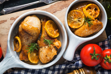 roasted chicken legs with vegetables and herbs