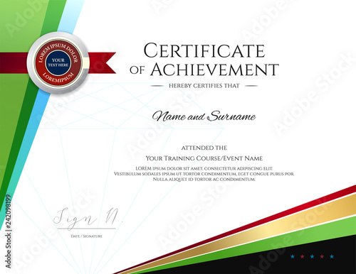 """Modern certificate template with elegant border frame ..."
