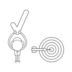 Vector illustration of businessman character with bulls eye with dart in the center and holding up check mark. Black outline.