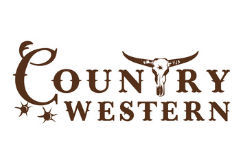Country western label with bull skull on white background, Vector Illustration