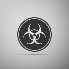 Biohazard symbol icon isolated on grey background. Flat design. Vector Illustration