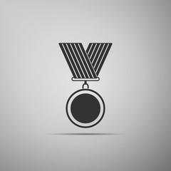 Medal icon isolated on grey background. Winner symbol. Flat design. Vector Illustration