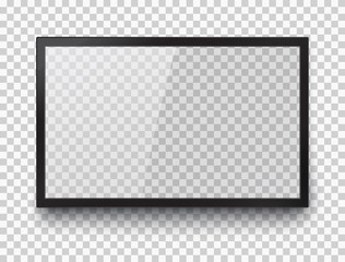 Empty led monitor of computer or black photo frame isolated on transparent background. Vector blank screen lcd, plasma, panel or TV for your design.