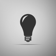 Light bulb icon isolated on grey background. Energy and idea symbol. Lamp electric. Flat design. Vector Illustration
