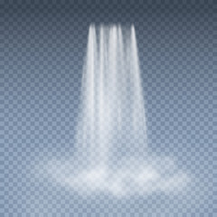 Waterfall cascade with fog isolated on transparent background. Vector 3d water fall pattern for exotic landscape mountain design.