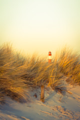 Beach Dune Landmark / Red and white striped lighthouse in bright sunny evening light at distant horizon, seen from beach grass dune (copy space)
