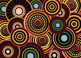 Aboriginal dot art vector seamless circle pattern background.