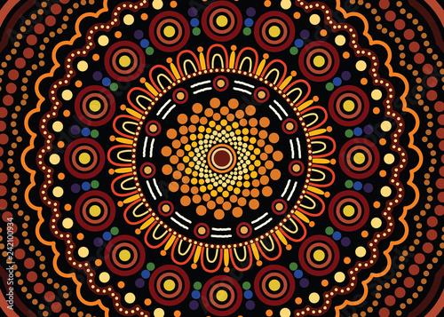 Aboriginal art vector background  Illustration based on