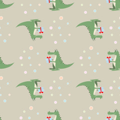 funny cartoon crocodile with a gift. seamless pattern