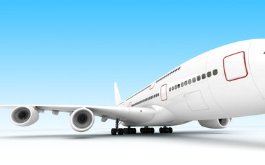3D illustration. Front view of the left side of airplane Airbus A380 stands still isolated on blue background. Perspective