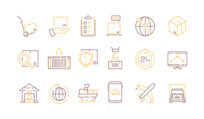 Logistics icon collection. Container survey delivery service export and import transportation vector colored thin symbols. Shipping cargo service, lorry and ship illustration