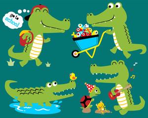 Vector set of funny crocodile cartoon