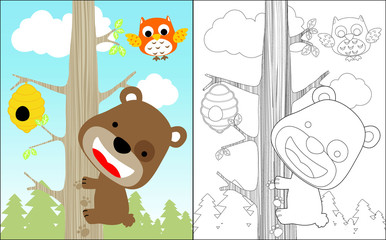 Vector illustration of coloring book with funny little bear cartoon climb a tree