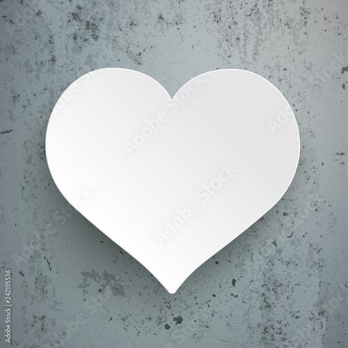 Weißes Herz Aus Papier Auf Sichtbeton Stock Image And Royalty Free