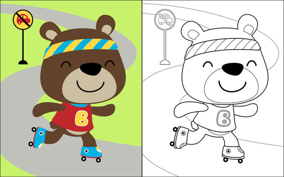 Vector illustration of coloring book with bear cartoon the roller skate player