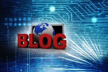 3d blog On-line illustration on laptop