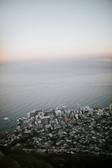 Aerial view of Cape Town during sunset