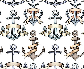 Seamless texture with vintage multicolored cartoon anchors with paper ribbon. Hand drawn illustration. Vector pattern for wallpaper, fabrics, menus and your design.