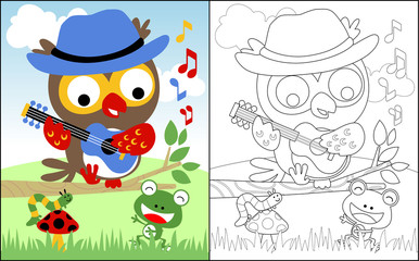 coloring book or page with owl cartoon playing music with friends