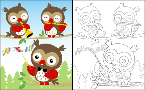 coloring book or page with a cute bunch of owls cartoon playing music