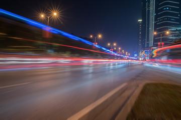 City night road light trails