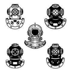 Set of vintage diver helmets. Design element for logo, label, emblem, sign.