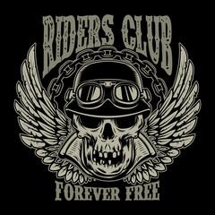 Riders club. Vintage biker emblem with winged racer skull.