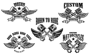 Set of winged motorcycle and car pistons. Design element for logo, label, emblem, sign.