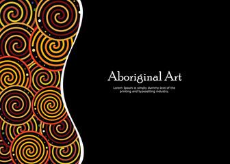Aboriginal art vector banner with text.