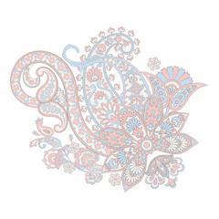 paisley flower pattern in damask style, indian  floral design, vector illustration