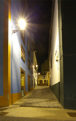 On the night road in Santa Cruz de La Palma, Canary Islands
