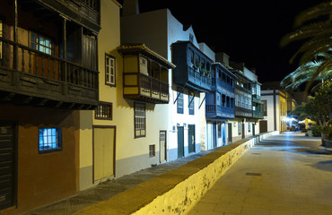 Raw of old houses with color balcones in the street in Santa Cruz de La Palma, Canary Islands