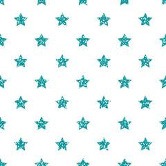 Turquoise Star Pattern. Glitter Look.