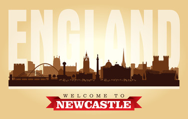 Newcastle United Kingdom city skyline vector silhouette