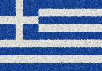 Graphic illustration of a Greek flag with a flower pattern