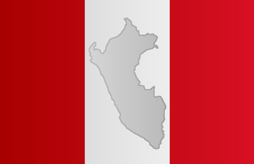 Graphic illustration of a Peruvian flag with a contour of its borders