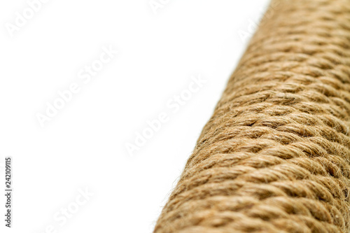 sisal rope cat scratching post on white background