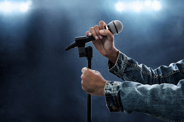 Hands holding microphone