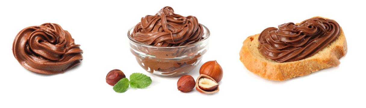 chocolate cream isolated on white background