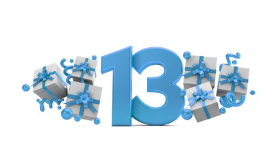 Number 13 blue birthday celebration number with gift boxes. 3D Rendering